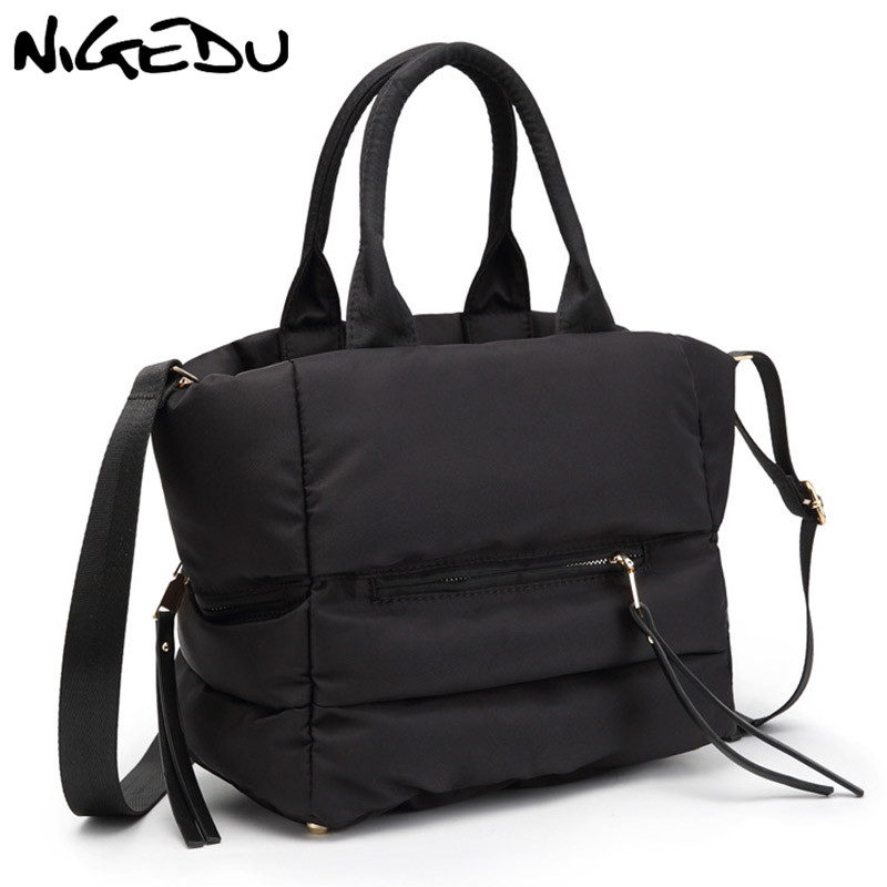NIGEDU Women Handbag Space Bale 2018 New Winter Casual Space Cotton Totes Bag Down Feather Padded Female Shoulder Crossbody Bag
