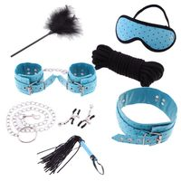 Newest 7 in 1 Set Blue constraint Chain Whip Blindfold Sex Toy Restraint System Fetish Promotion