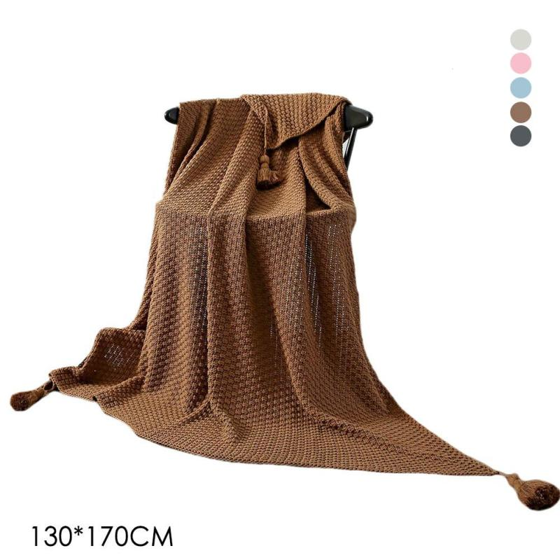 130x170cm baby Blanket Solid Color Crochet Tassel Blanket Knitted Soft Throw Blankets on Sofa/Bed/Plane Travel Air Conditioning бур зубр 29315 210 10