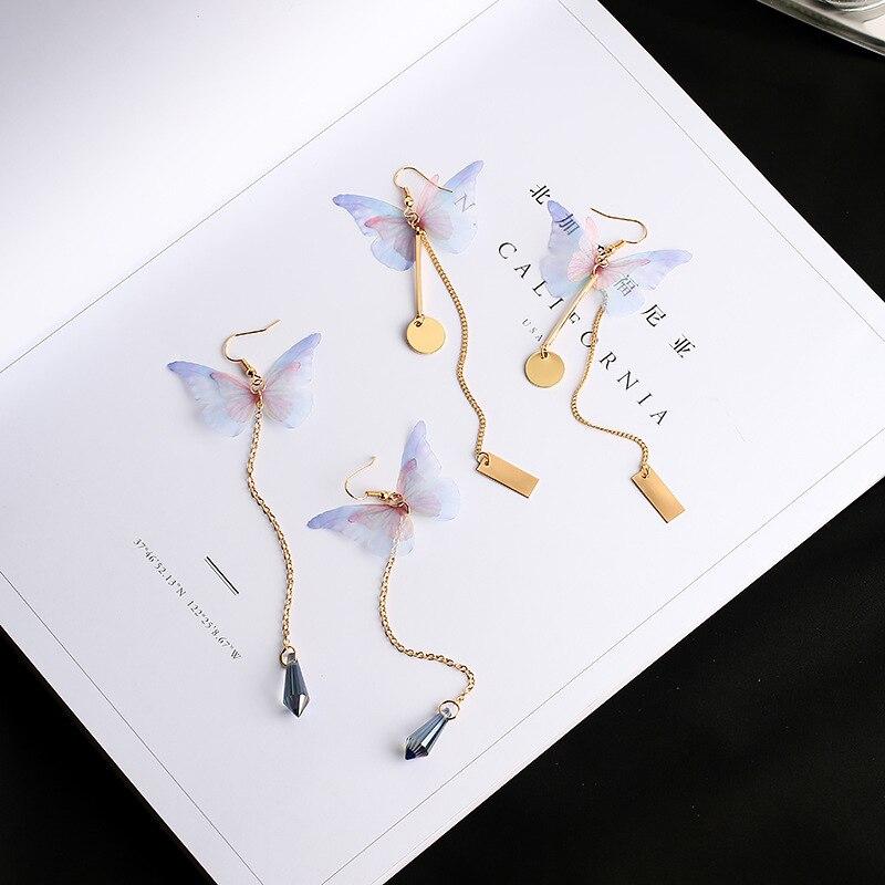 2017 Vintage Handgemachte Ethereal Schmetterling Lange Ohrringe Legierung Wafer Strass Pendientes Ohrringe Modeschmuck Brinco