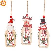 3PC Wooden Christmas Santa Claus/Snowman Pendant Ornaments For Home Christmas Party Xmas Tree Ornaments Kids Gifts Decoration kids baby christmas hat santa claus reindeer snowman fashion party caps for boys girls christmas gifts
