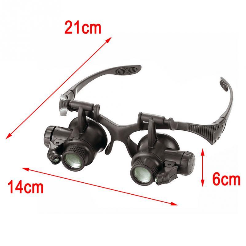 Timepieces/Electronic Repair Jewelry Appraisal LED Magnifier Double Eye Loupe Glasses Jeweler Watch Repair 10X 15X 20X 25X Lens окуляр для зрительных труб nikon prostaff 5 20x 25x