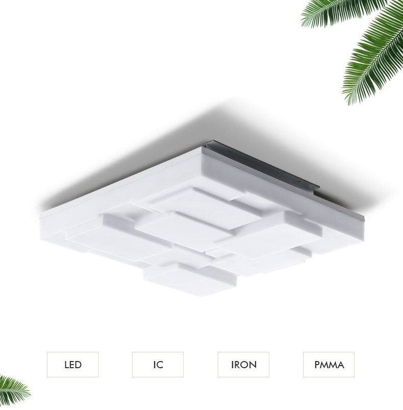 IWHD Nordic Plafon LED Square Ceiling Lights Fashion Two-color Adjuatable Light Pamparas Para Teto PMMA Plondlamp Home Lighting