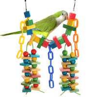 Colorful Pet Bird Chewing Toys Parrot Macaw Cage Wooden Blocks Swing Playing Scratcher Climbing Toy