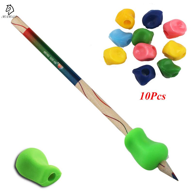 10Pcs Silicone Pencil Grip Corrector Super Soft Hand Writing Gripper For Kids Drop Shipping