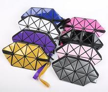 11 cores Geométrica Saco de Cosmética Mulheres de Diamante A Laser Saco Das Senhoras Cosméticos Organizador de Maquiagem