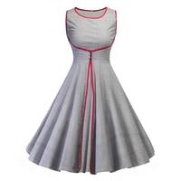 Women New 50s Retro Vintage Dress Plaid Patchwork Sleeveless Spring Summer Dress Rockabilly Swing Party Dress