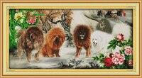 Peony Tibetan Mastiff cotton Animal cross stitch kit 14ct white 11ct printed embroidery DIY handmade needle work wall home decor
