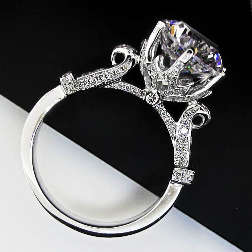 brillante 4ct sona synthetic diamonds engagement rings for women genuine pure 925 silver white gold color - Cheap Wedding Rings Online