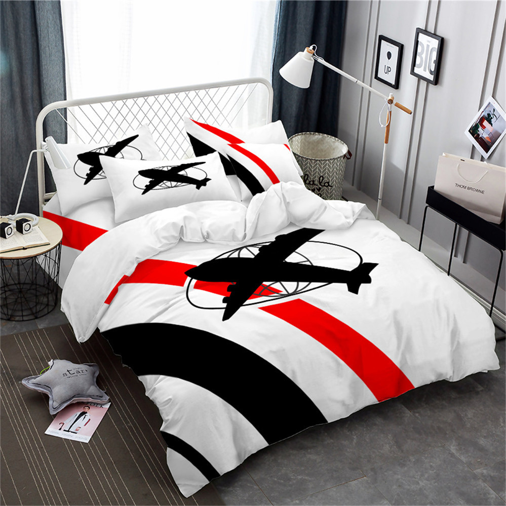 Kids Toy Airplane Bedding Set Cartoon Style Duvet Cover Set Red Black Patchwork Bedclothes Festival Gift Bed Cover 3Pcs D40
