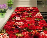 Beibehang HD alta moda bellezza bella rosa mare soggiorno 3D piastrelle pavimentazione 3d carta da parati papel de parede 3d behang