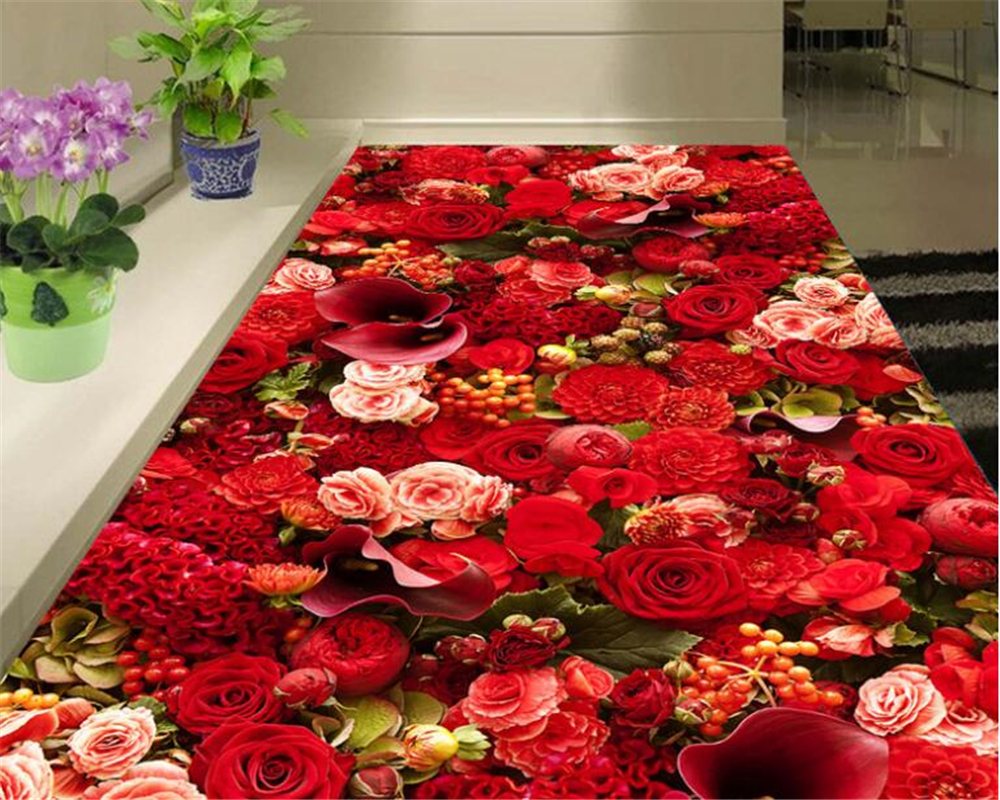beibehang HD fashion high beauty beautiful rose sea living room 3D floor tiles papel de parede 3d flooring 3d wallpaper behang