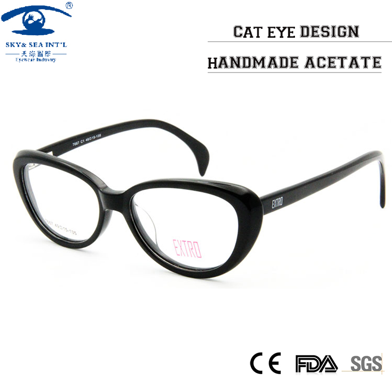 0989ca14a4 Fashion Designer Clear Lens Vintage CatEye Glasses Frame Female Hand Made  Acetate Frames Eyewear Women Rx Optic Glass-in Eyewear Frames from Women s  ...