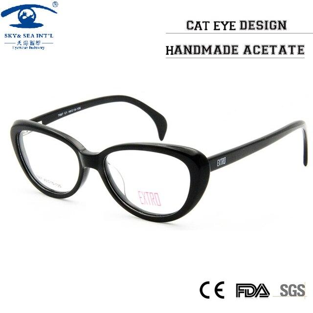 ef637666eb7c Fashion Designer Clear Lens Vintage CatEye Glasses Frame Female Hand Made  Acetate Frames Eyewear Women Rx