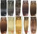 Frete grátis 12 pcs grosso set 100% macio indiano remy clipes em/sobre extensões de cabelo humano 300g 20 cores em estoque