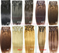 free shipping 12pcs thick set  100% soft  indian remy clips in/on human hair extensions  300g 20 colors in stock