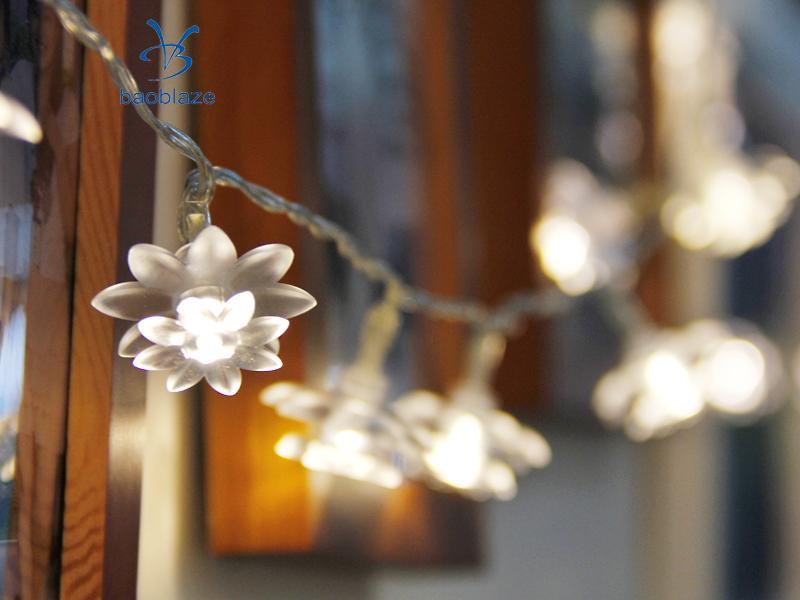 Baoblaze Romantic 10/20-LED Battery Operated Christmas Flower Shape String Lamp Light for Party Room Garden Home Diwali Decor