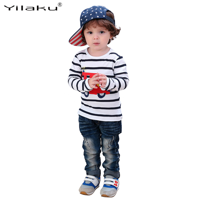 Children Long Sleeve T-shirt Boys Girls Cartoon Car T shirts Kids Striped Clothes Autumn Boy Girl Casual Top and Tees CG236