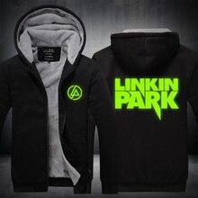 2016 Para Hombre Con Capucha de invierno Espesar Fleece Música Linkin Park Band EE. UU. de LA UE Más El Tamaño