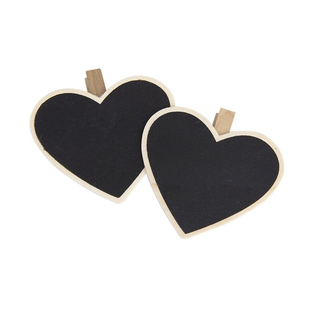 SOSW-8Pcs Heart-Shape Blackboard Wooden Pegs Photo/Note/Paper Clips