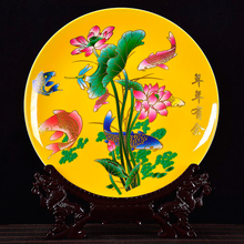 Birds Twitter And Fragrance Home Decor Ceramic Ornamental Plate Chinese Decoration Plate Wood Base Porcelain Plate
