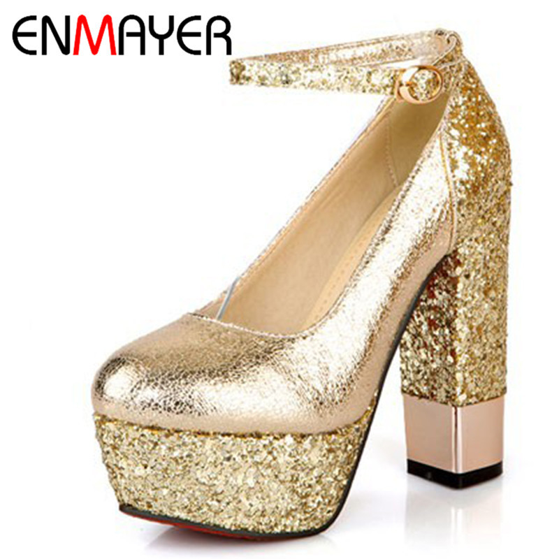 ENMAYER New Fashion Style Shoes Women Pumps Fashion Thin High Heels Wedding Shoes Round Toe Ankle