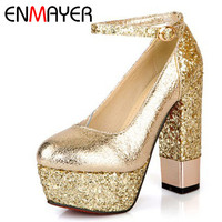 ENMAYER Shoes Women Pumps Fashion Thin High Heels Wedding Shoes Round Toe Ankle Straps Platform Pumps