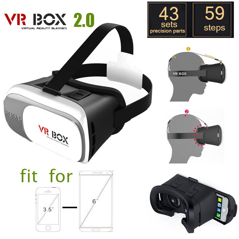 3D VR Glasses Head-mounted Virtual Reality Glasses to Watch 3D Movies for 3.5″ – 6.0″ Smart Phone Anti-dizzy Suitble for travel