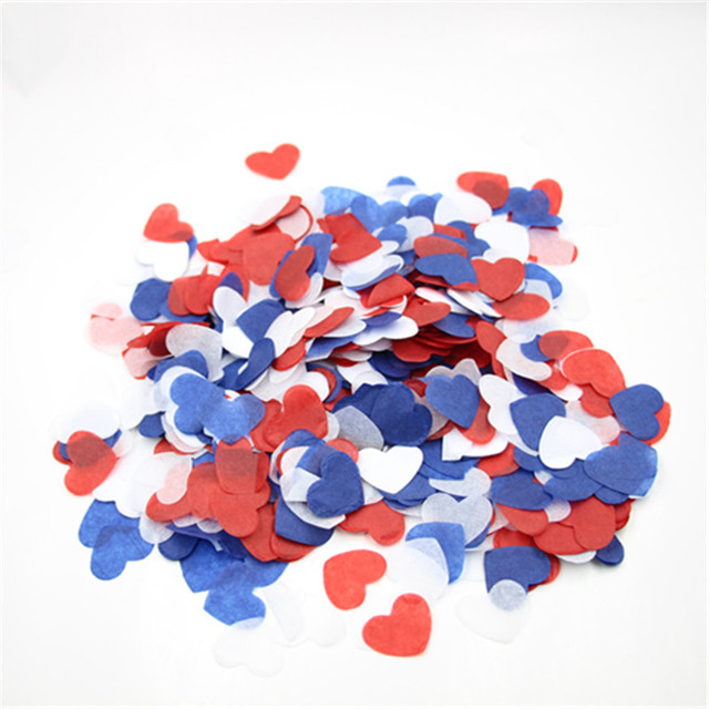 1 Red White Blue 4th Of July Heart Confetti Military Wedding
