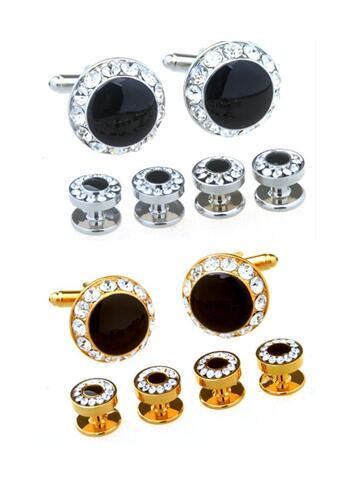5sets lot Crystal Cufflinks Tuxedo Studs 6pcs Set Gold Silver Cuff Links Collar Tuxedo Studs Set