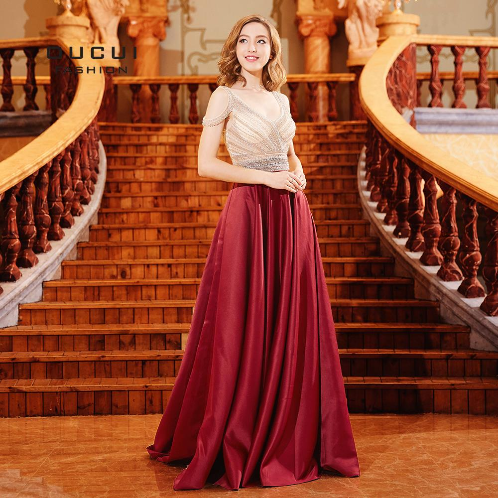 Red A Line   Prom     Dress   2019 Off Shoulder with Beading Long Formal Evening Gown   Dresses   Party Sexy V-neck Robe De Soiree OL103286