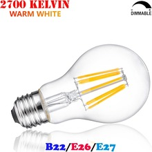 4W 6W 8W Standard Shape LED Light Bulb A60 25W 40W 60W Incandescent Equal Filament LED Edison Ampoule E27 220V Dimmable Bombilla