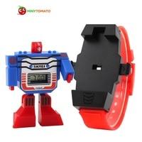 2017 Fashion LED Digit Kids Children Watch Sports Cartoon Watches Cute Relogio Relojes Robot Transformation Toys