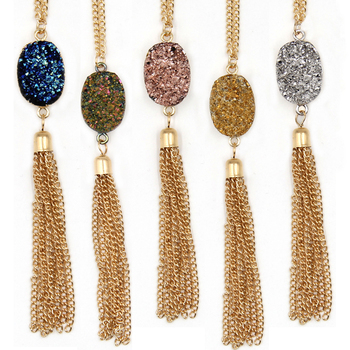 2017 New Arrival Oval Resin Druzy Looking Cute Long Chain Quart Oval Tassel Necklaces Pendants
