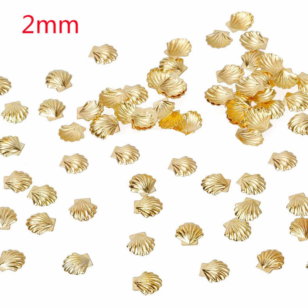 100 шт стикер для ногтей s 2 мм 3 мм 5 мм золотой серебряный сплав Морская раковина рыба 3D металлический специальный стикер для дизайна ногтей для женщин Маникюрный Инструмент Декор