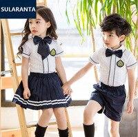 Children Girls Boys Cotton British English Student School Uniform Set Shirt Tops Pleat Skirt Shorts Clothes