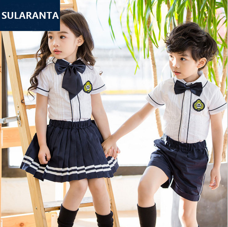 Children Student Korean Japanese School Uniforms for Girls Boys White Pleated Collar Shirt Tops Skirt Shorts Tie Clothes Outfits