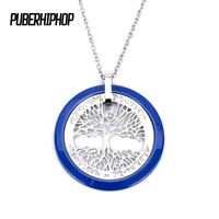 Fashion Blue Tree Of Life Pendants Necklace Silver Color Stainless Steel Ceramic Women Men Jewelry Charm