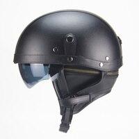 Adult Leather Harley Helmets For Motorcycle Retro Half Cruise Helmet Prince Motorcycle vintage Helmet DOT Approved Brown Black