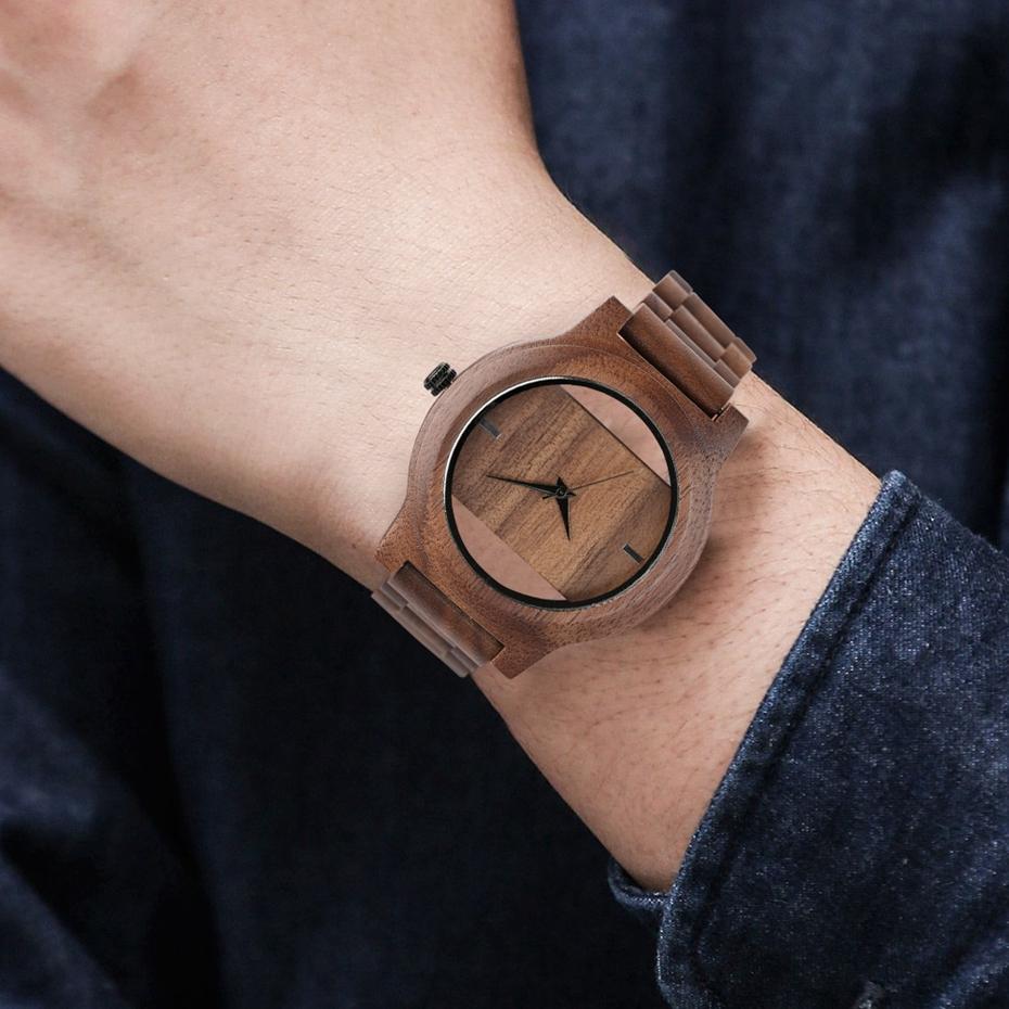YISUYA Mens Women Natural Wood Watches Full Wooden Bamboo Wristwatch Fashion Hollow Dial Design Quartz Novel Handmade Clock Gift 2017 (11)