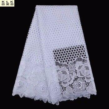 Лидер продаж нигерийские кружевные ткани белый Африканский шнур кружева ткани высокого качества 2017 гипюр кружева сетка хлопок Материал L05-2