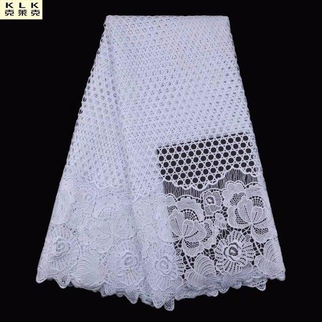 Популярная Нигерии кружевной ткани белый Африканский кружевная ткань из нитей высокое качество 2019 гипюр кружева сетки хлопка Материал L05-2