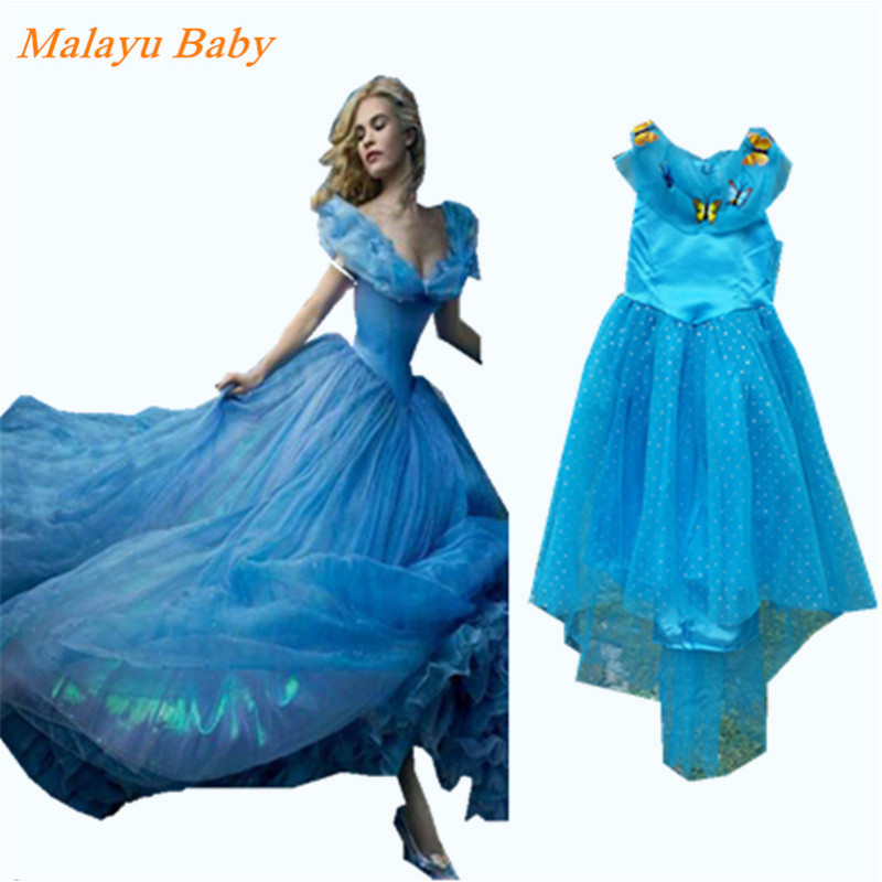 Malayu Baby 2016 New Cinderella Kids Dress  Blue Princess Girl Dress With Butterfly For Cinderella  Costume Girl Fancy Dresses 2015 new style movies cinderella princess dresses for kids nice blue princess dresses cinderella fancy costumes child s clothes