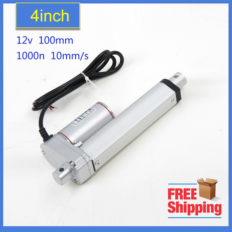 Free shipping -24v/12v 100mm/4inch stroke, mini linear actuator, electric linear actuator, thrust 900N,customized stroke free shipping 12v or 24v 4inch stroke 1000n force linear actuator with feedback made in china