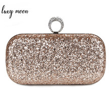 Sequin Clutch Bag Female Evening Clutches Finger Rings Wedding Purse Exquisite Women Chain Shoulder Bag bolsa feminina ZD1292(China)