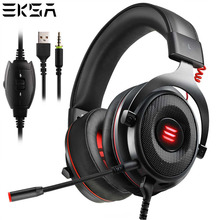 EKSA Gaming Headset Virtual USB 7.1 Headphones Wired 3.5mm Over-Ear Headset With Pluggable Mic LED For Xbox/PC/PS4/Phone/PS3/PC universal wired gaming headset earphone with mic and volume control for ps4 for ps3 for pc for xbox 360 3 5m black