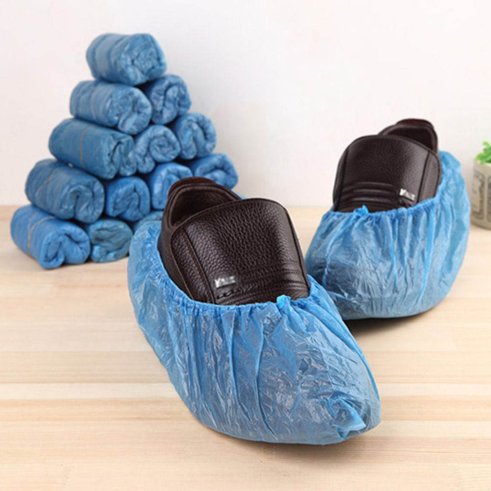 40Pcs Plastic Waterproof Disposable Shoe Covers Rainy Day Carpet Floor Protector Thick Cleaning Shoe Cover Blue Overshoes