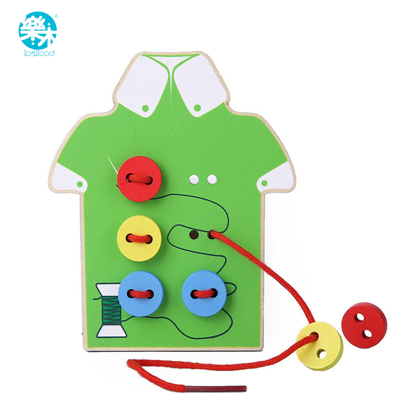 Montessori Education Wooden 2 Kinds Wear The Button Wooden Toys Threading Board Beaded Blocks Child Birthday Gift