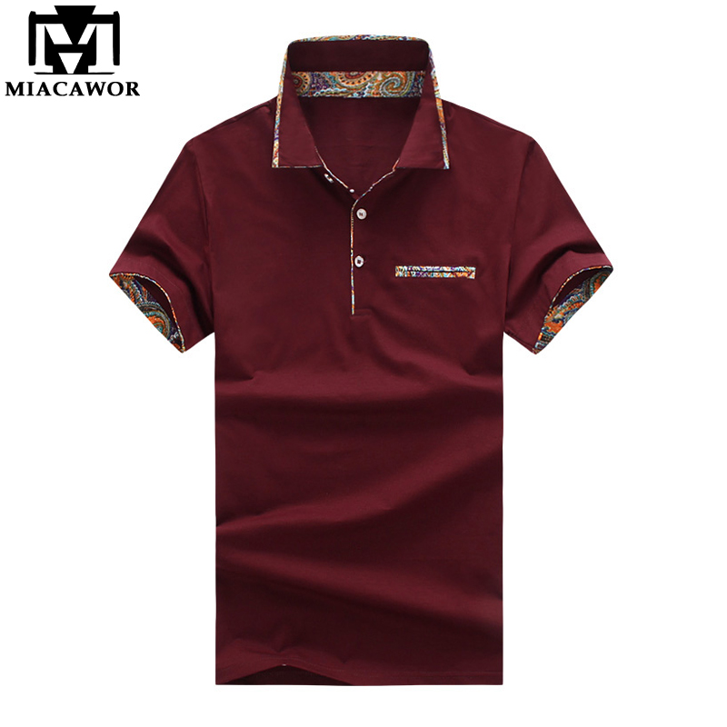 MIACAWOR New Italian Design Men   Polo   Shirt Fashion Print Collar Short-sleeve   Polo   Men Slim Fit Casual Camisas   Polo   MT623