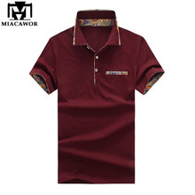 MIACAWOR New Men Polo Shirt 95% Cotton Tee shirt Homme Print Collar Short-sleeve Slim Fit Casual Shirts MT623(China)